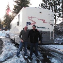 Eddie and I up at Big Bear, with MY RV while shooting Donner Pass